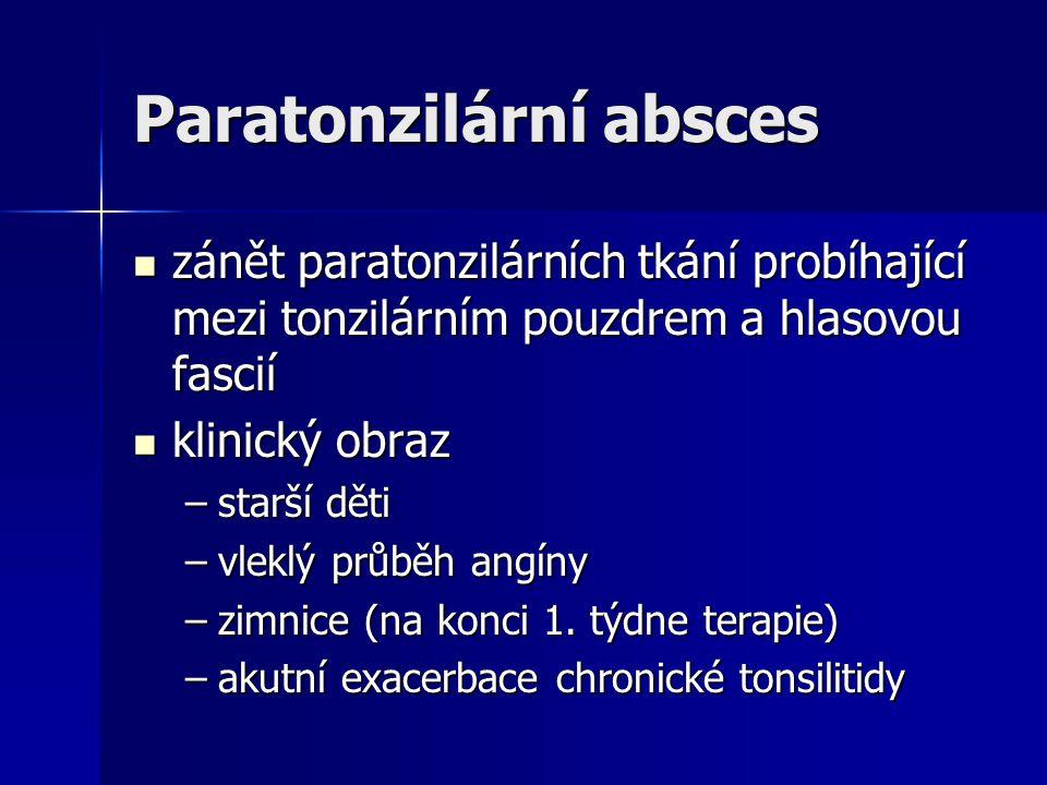Paratonzilární absces zánět paratonzilárních tkání probíhající mezi tonzilárním pouzdrem a hlasovou fascií zánět paratonzilárních tkání probíhající me