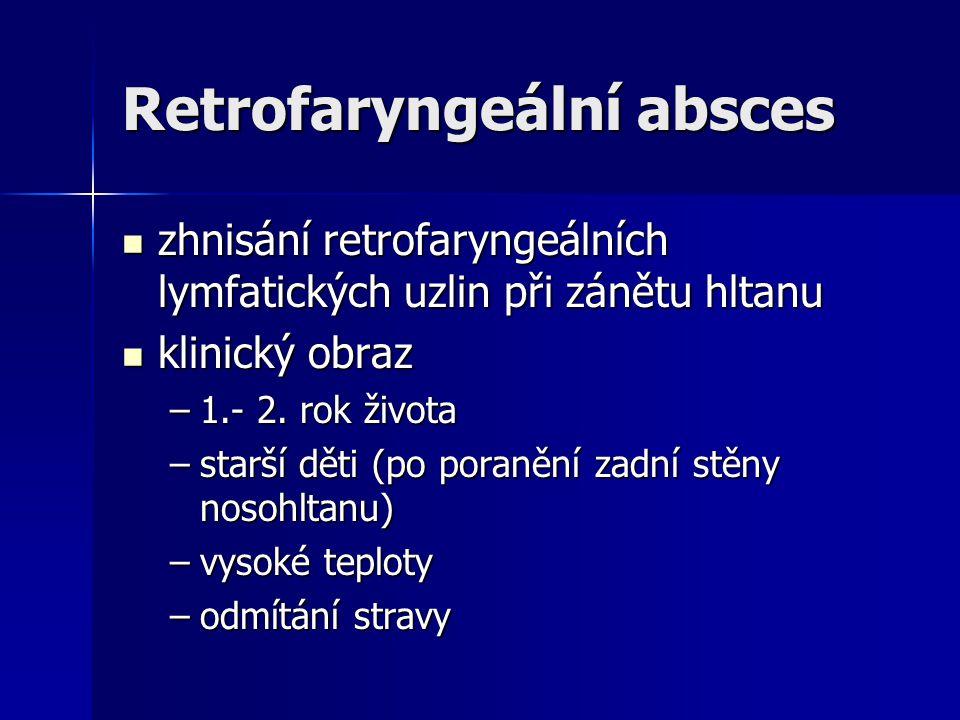 Retrofaryngeální absces zhnisání retrofaryngeálních lymfatických uzlin při zánětu hltanu zhnisání retrofaryngeálních lymfatických uzlin při zánětu hlt
