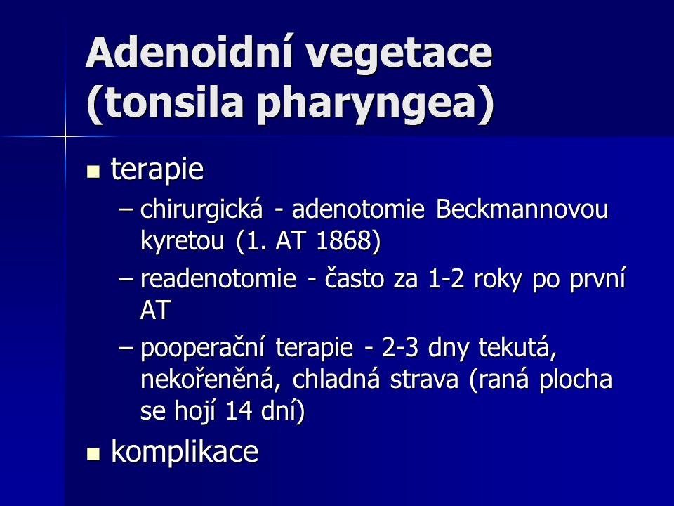 Adenoidní vegetace (tonsila pharyngea) terapie terapie –chirurgická - adenotomie Beckmannovou kyretou (1. AT 1868) –readenotomie - často za 1-2 roky p