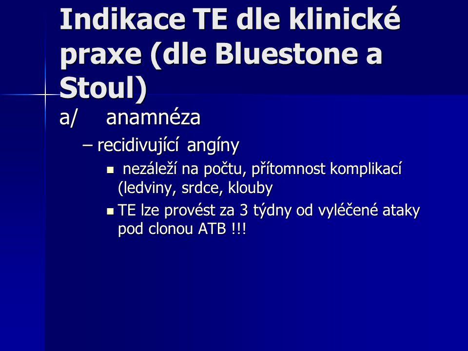 Indikace TE dle klinické praxe (dle Bluestone a Stoul) a/anamnéza –recidivující angíny nezáleží na počtu, přítomnost komplikací (ledviny, srdce, kloub
