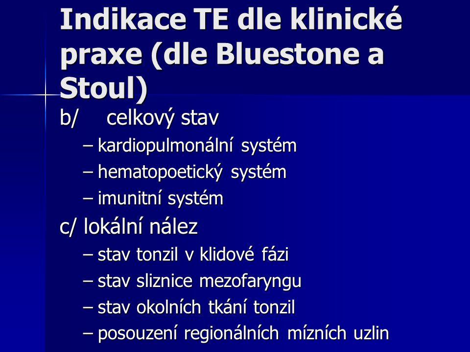 Indikace TE dle klinické praxe (dle Bluestone a Stoul) b/celkový stav –kardiopulmonální systém –hematopoetický systém –imunitní systém c/ lokální nále