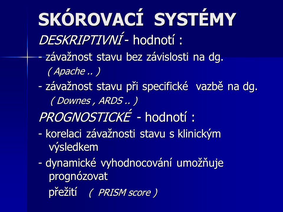 SKÓROVACÍ SYSTÉMY DESKRIPTIVNÍ - hodnotí : - závažnost stavu bez závislosti na dg. ( Apache.. ) ( Apache.. ) - závažnost stavu při specifické vazbě na