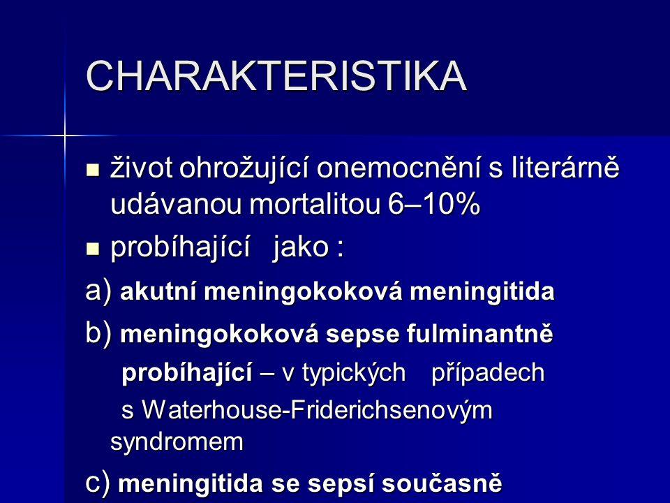 CHARAKTERISTIKA život ohrožující onemocnění s literárně udávanou mortalitou 6–10% život ohrožující onemocnění s literárně udávanou mortalitou 6–10% pr