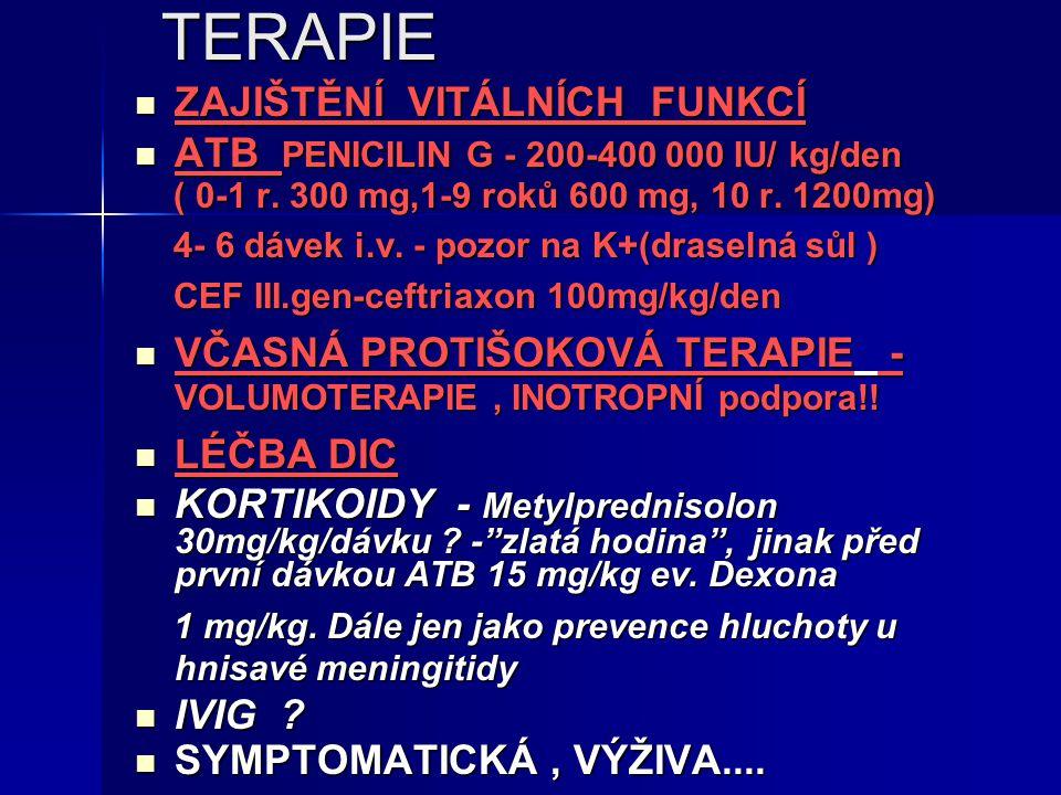 TERAPIE ZAJIŠTĚNÍ VITÁLNÍCH FUNKCÍ ZAJIŠTĚNÍ VITÁLNÍCH FUNKCÍ ATB PENICILIN G - 200-400 000 IU/ kg/den ATB PENICILIN G - 200-400 000 IU/ kg/den ( 0-1