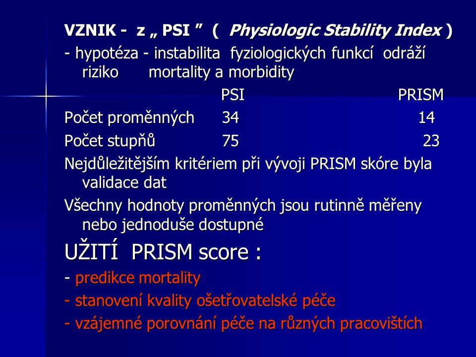 """VZNIK - z """" PSI """" ( Physiologic Stability Index ) - hypotéza - instabilita fyziologických funkcí odráží riziko mortality a morbidity PSI PRISM PSI PRI"""