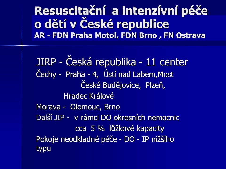 Resuscitační a intenzívní péče o dětí v České republice AR - FDN Praha Motol, FDN Brno, FN Ostrava JIRP - Česká republika - 11 center Čechy - Praha -