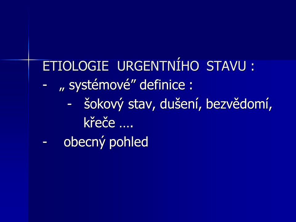 """ETIOLOGIE URGENTNÍHO STAVU : - """" systémové"""" definice : - šokový stav, dušení, bezvědomí, - šokový stav, dušení, bezvědomí, křeče …. křeče …. - obecný"""