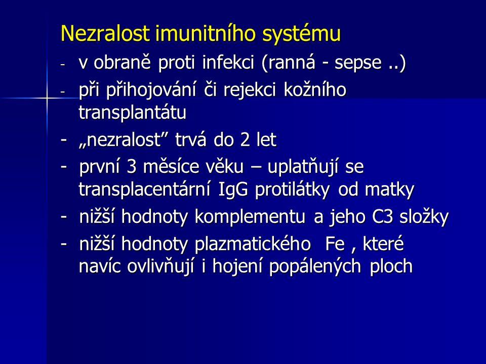 """Nezralost imunitního systému - v obraně proti infekci (ranná - sepse..) - při přihojování či rejekci kožního transplantátu - """"nezralost"""" trvá do 2 let"""