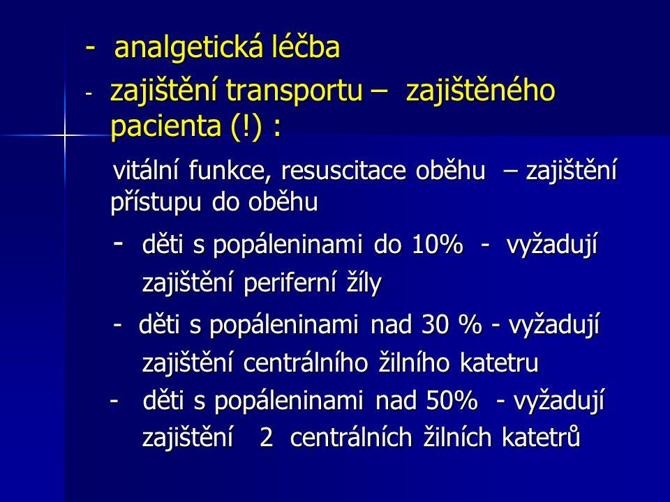- analgetická léčba - zajištění transportu – zajištěného pacienta (!) : vitální funkce, resuscitace oběhu – zajištění přístupu do oběhu vitální funkce