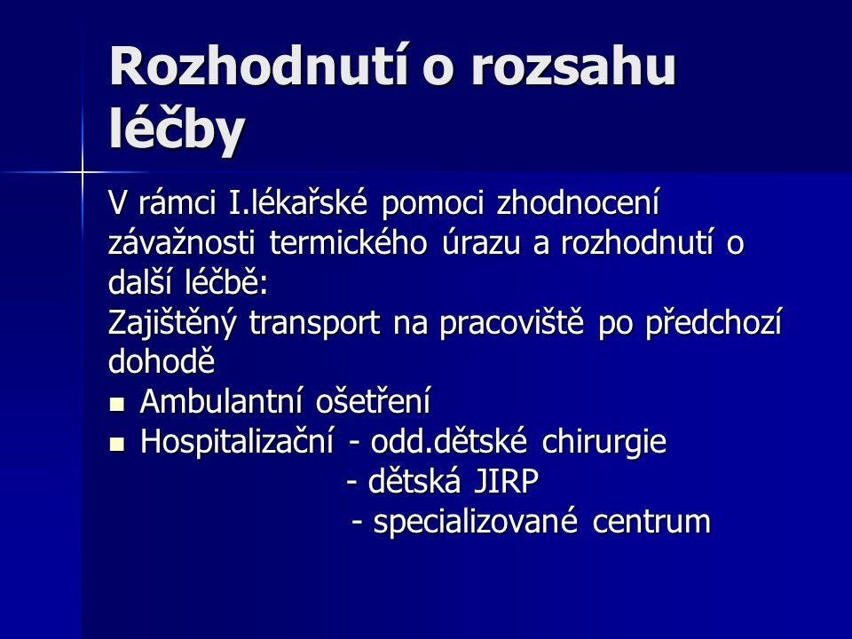 Rozhodnutí o rozsahu léčby V rámci I.lékařské pomoci zhodnocení závažnosti termického úrazu a rozhodnutí o další léčbě: Zajištěný transport na pracovi