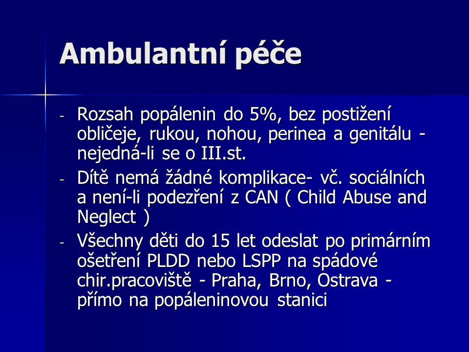Ambulantní péče - Rozsah popálenin do 5%, bez postižení obličeje, rukou, nohou, perinea a genitálu - nejedná-li se o III.st. - Dítě nemá žádné komplik