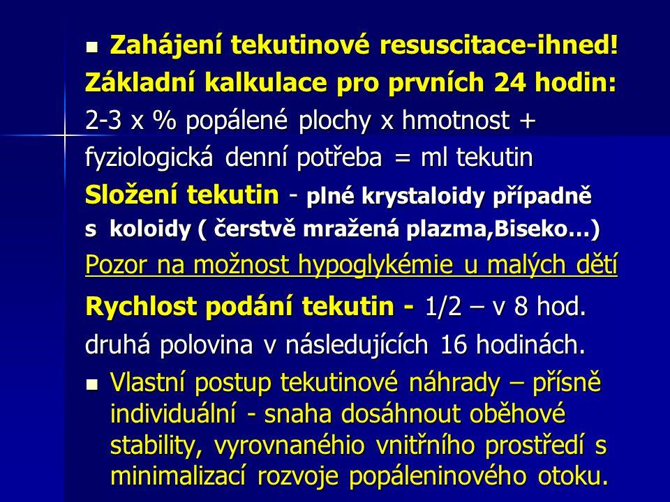 Zahájení tekutinové resuscitace-ihned! Zahájení tekutinové resuscitace-ihned! Základní kalkulace pro prvních 24 hodin: 2-3 x % popálené plochy x hmotn