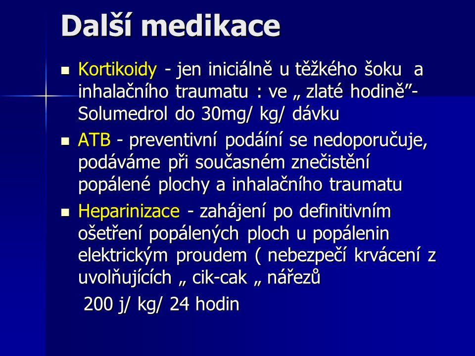 """Další medikace Kortikoidy - jen iniciálně u těžkého šoku a inhalačního traumatu : ve """" zlaté hodině""""- Solumedrol do 30mg/ kg/ dávku Kortikoidy - jen i"""