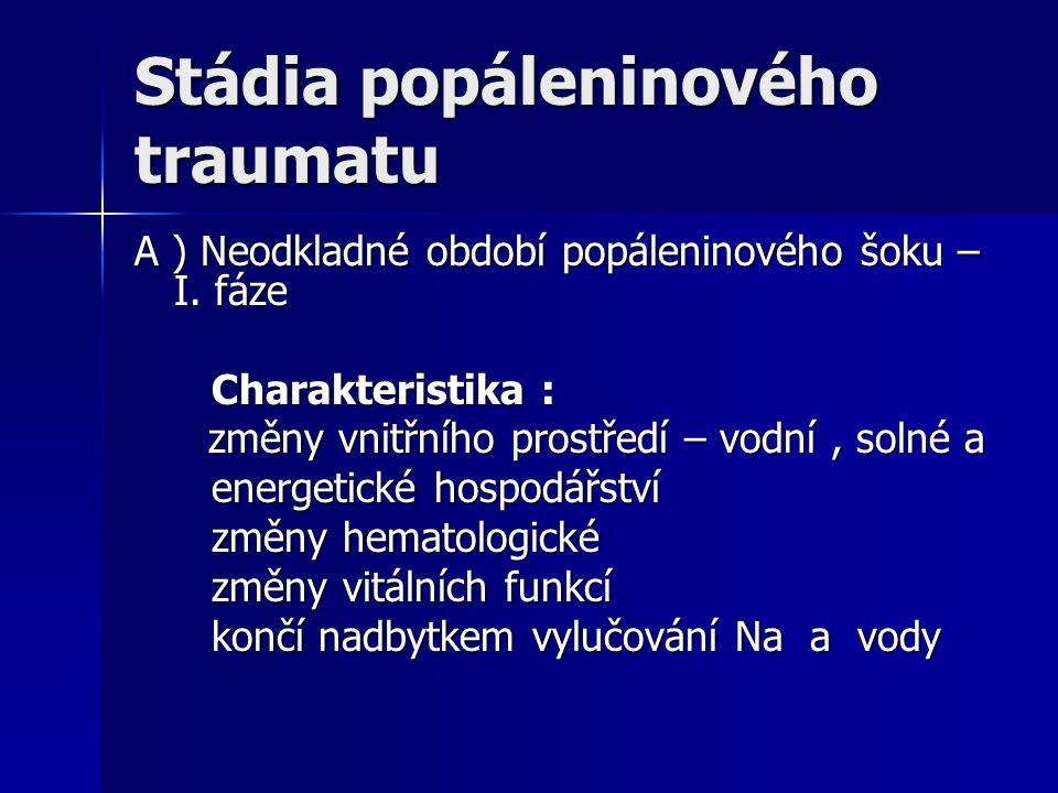 Stádia popáleninového traumatu A ) Neodkladné období popáleninového šoku – I. fáze Charakteristika : Charakteristika : změny vnitřního prostředí – vod