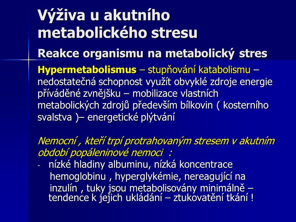 Výživa u akutního metabolického stresu Reakce organismu na metabolický stres Hypermetabolismus – stupňování katabolismu – nedostatečná schopnost využí