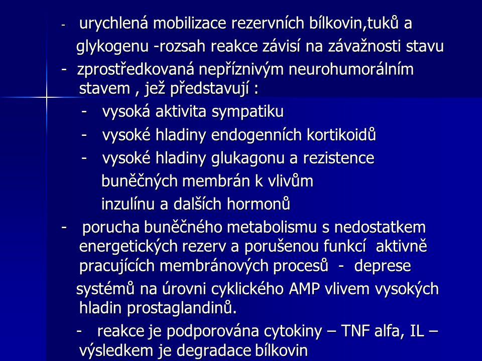 - urychlená mobilizace rezervních bílkovin,tuků a glykogenu -rozsah reakce závisí na závažnosti stavu glykogenu -rozsah reakce závisí na závažnosti st