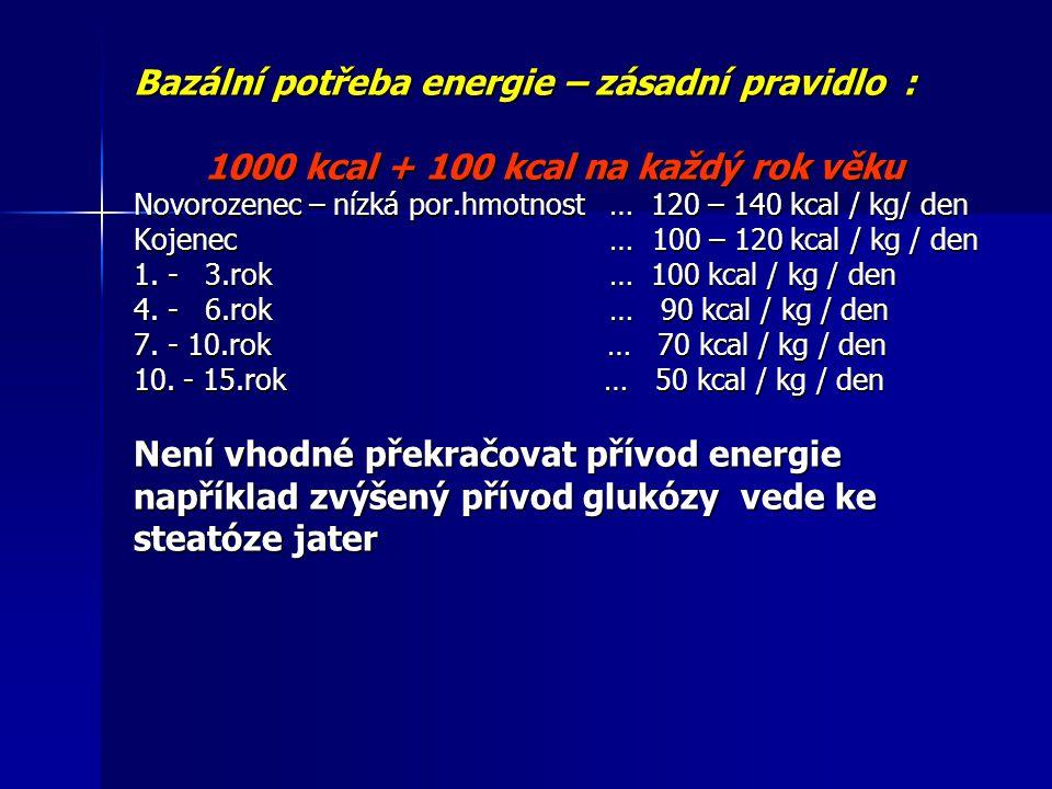 Bazální potřeba energie – zásadní pravidlo : 1000 kcal + 100 kcal na každý rok věku 1000 kcal + 100 kcal na každý rok věku Novorozenec – nízká por.hmo