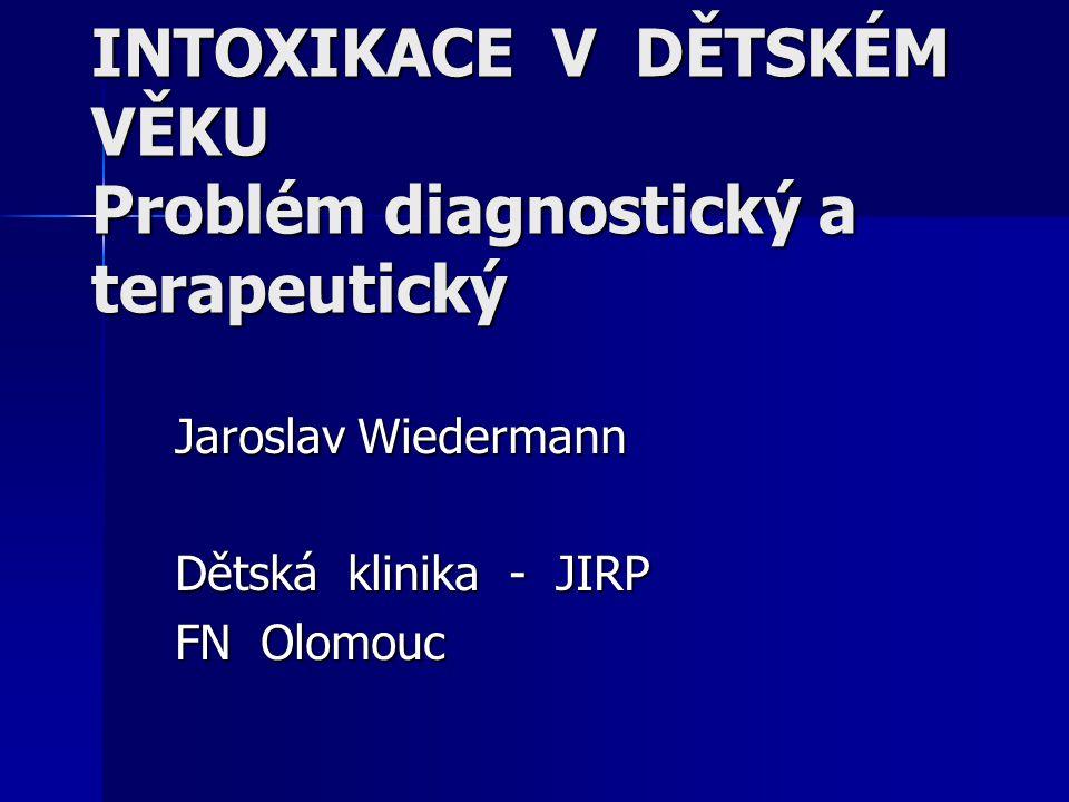 Jaroslav Wiedermann Dětská klinika - JIRP FN Olomouc INTOXIKACE V DĚTSKÉM VĚKU Problém diagnostický a terapeutický