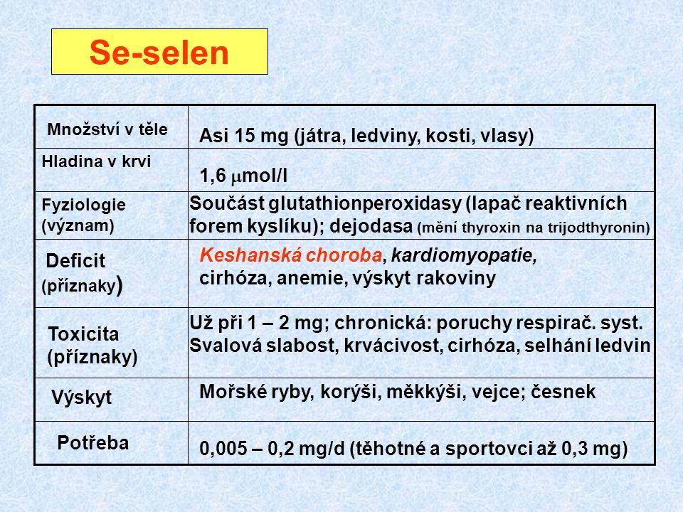 Se-selen (příznaky ) Fyziologie (význam) Hladina v krvi Množství v těle Deficit Toxicita (příznaky) Výskyt Potřeba Asi 15 mg (játra, ledviny, kosti, v