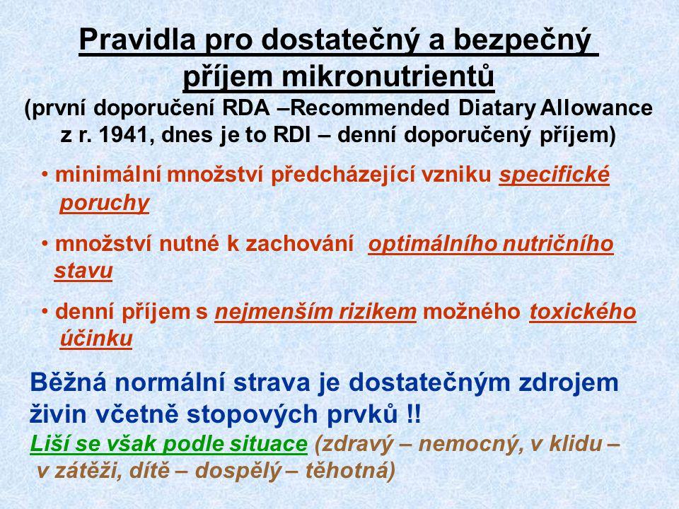 Pravidla pro dostatečný a bezpečný příjem mikronutrientů (první doporučení RDA –Recommended Diatary Allowance z r. 1941, dnes je to RDI – denní doporu
