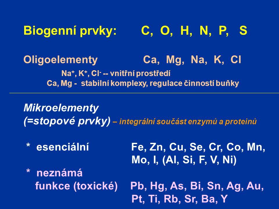 Biogenní prvky: C, O, H, N, P, S Oligoelementy Ca, Mg, Na, K, Cl Na +, K +, Cl - -- vnitřní prostředí Ca, Mg - stabilní komplexy, regulace činností bu
