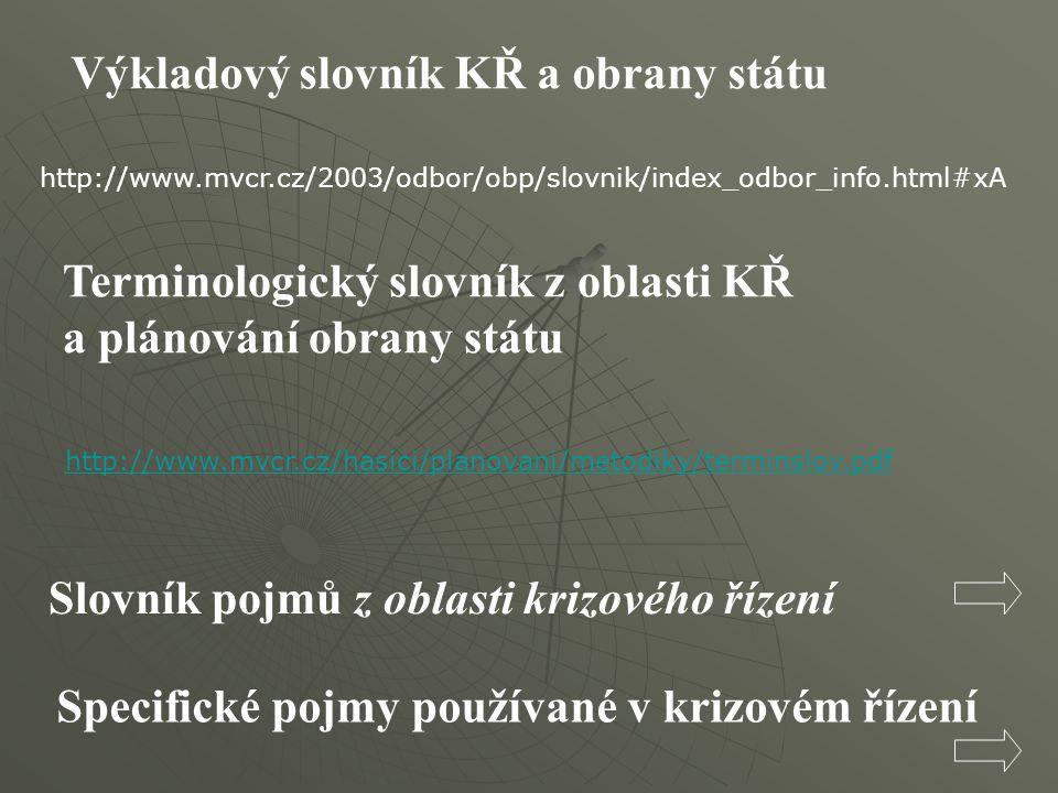 http://www.mvcr.cz/2003/odbor/obp/slovnik/index_odbor_info.html#xA Výkladový slovník KŘ a obrany státu Terminologický slovník z oblasti KŘ a plánování