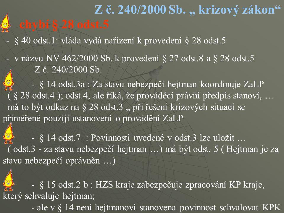 """Z č. 240/2000 Sb. """" krizový zákon"""" - v názvu NV 462/2000 Sb. k provedení § 27 odst.8 a § 28 odst.5 Z č. 240/2000 Sb. - § 40 odst.1: vláda vydá nařízen"""
