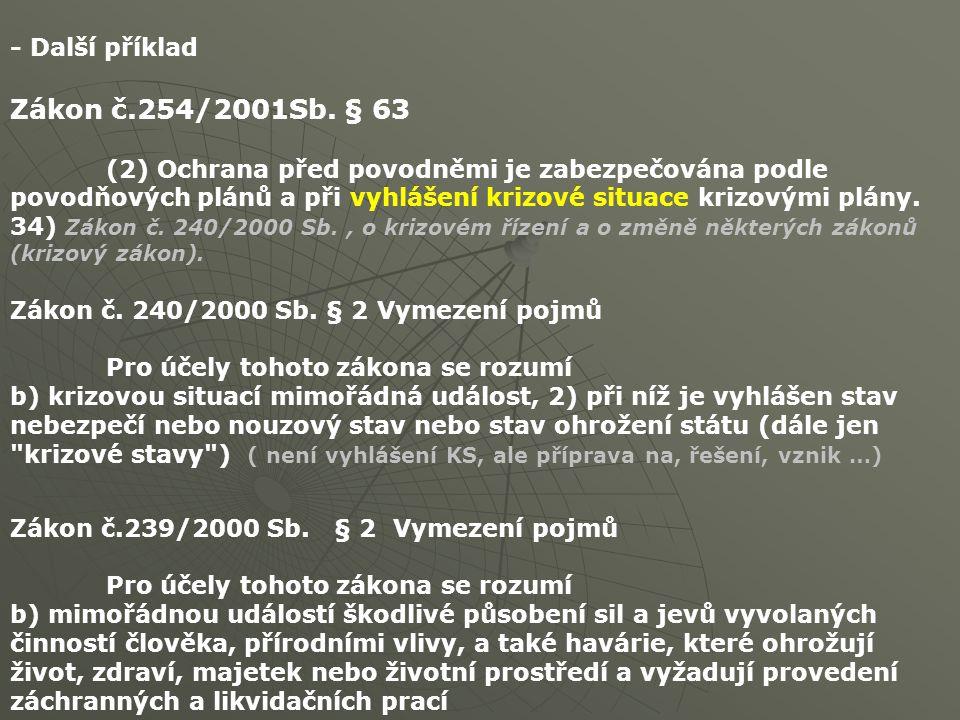 - Další příklad Zákon č.254/2001Sb. § 63 (2) Ochrana před povodněmi je zabezpečována podle povodňových plánů a při vyhlášení krizové situace krizovými