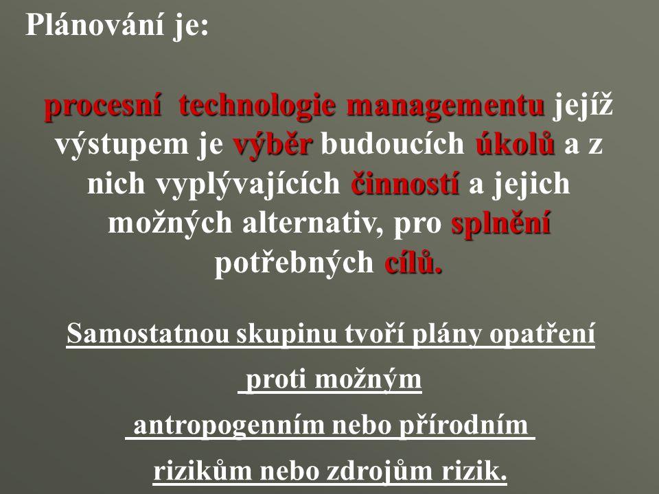 Plánování je: procesní technologie managementu výběrúkolů činností splnění cílů. procesní technologie managementu jejíž výstupem je výběr budoucích úk