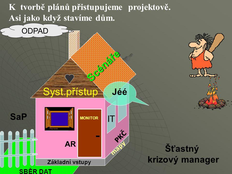 K tvorbě plánů přistupujeme projektově. Asi jako když stavíme dům. Základní vstupy AR Syst.přístup Scénáře OD Jéé SaP Šťastný krizový manager PKČ IT S