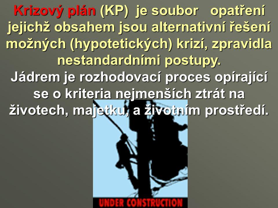 Krizový plán(KP) je soubor opatření jejichž obsahem jsou alternativní řešení možných (hypotetických) krizí, zpravidla nestandardními postupy. Krizový