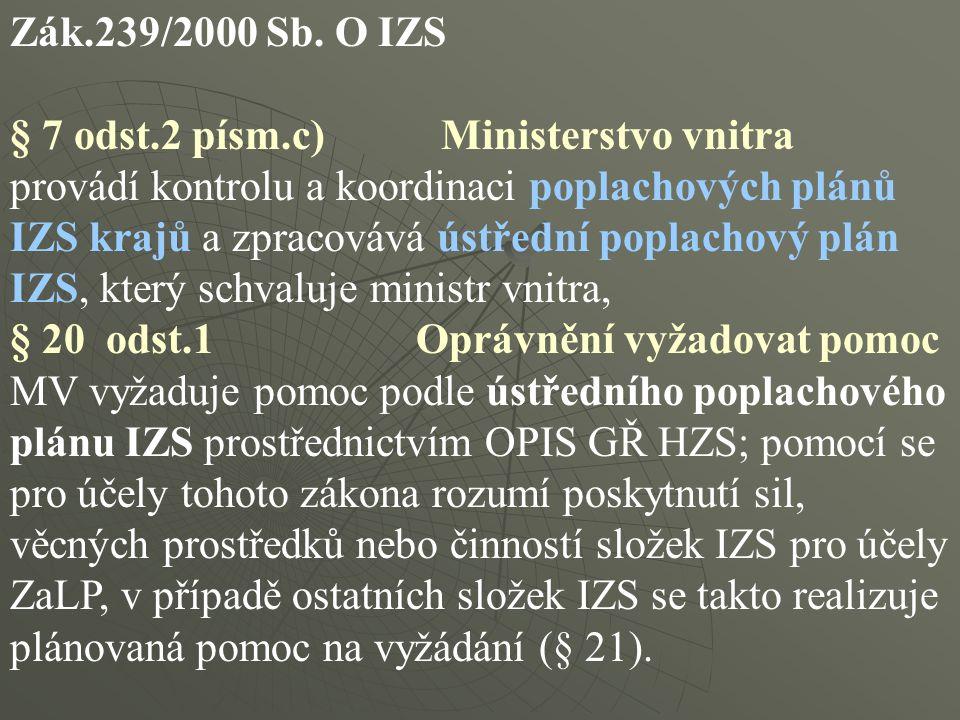 Zák.239/2000 Sb. O IZS § 7 odst.2 písm.c) Ministerstvo vnitra provádí kontrolu a koordinaci poplachových plánů IZS krajů a zpracovává ústřední poplach