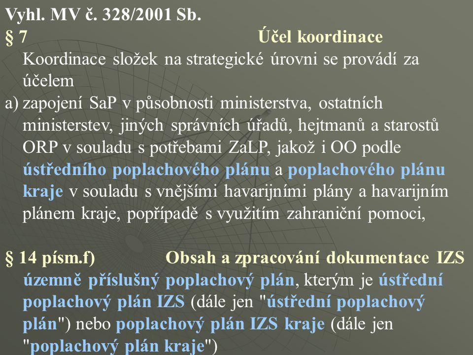 Vyhl. MV č. 328/2001 Sb. § 7 Účel koordinace Koordinace složek na strategické úrovni se provádí za účelem a)zapojení SaP v působnosti ministerstva, os