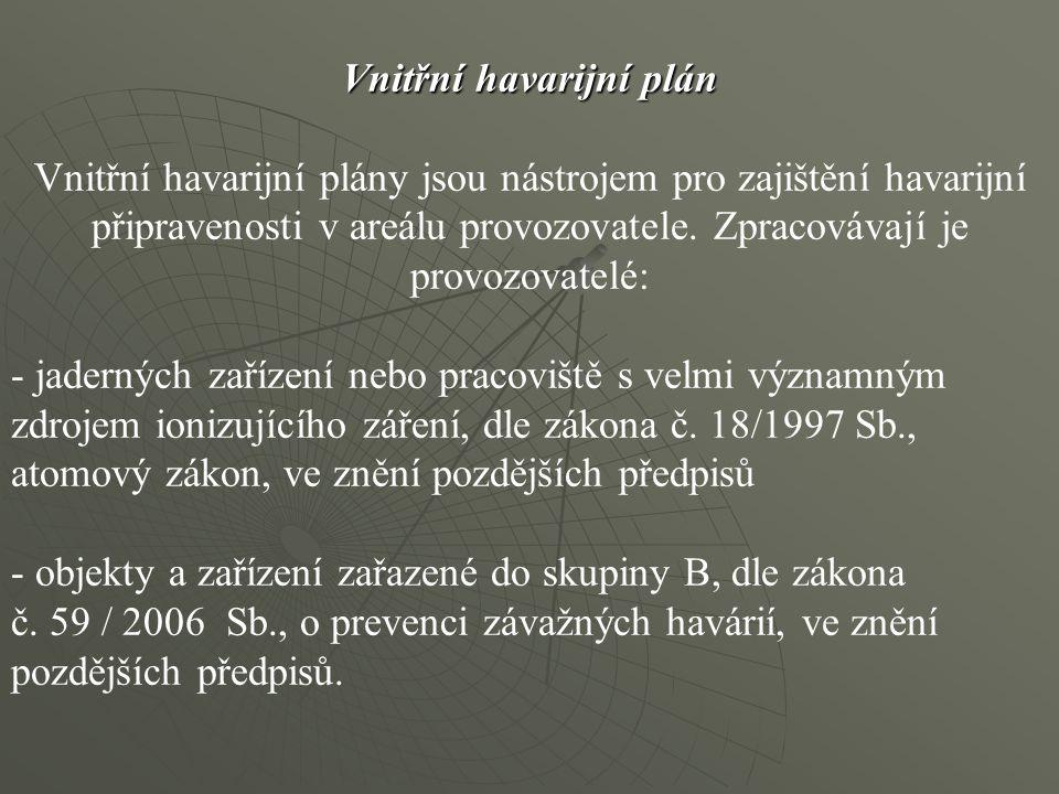 Vnitřní havarijní plán Vnitřní havarijní plán Vnitřní havarijní plány jsou nástrojem pro zajištění havarijní připravenosti v areálu provozovatele. Zpr