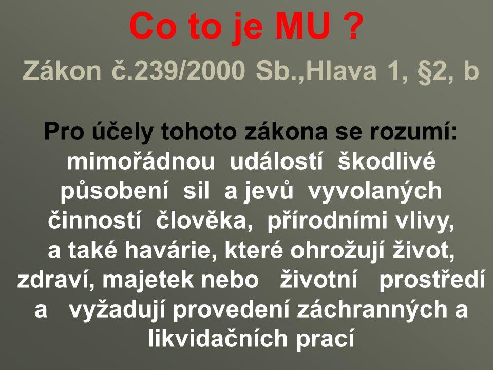 Co to je MU ? Zákon č.239/2000 Sb.,Hlava 1, §2, b Pro účely tohoto zákona se rozumí: mimořádnou událostí škodlivé působení sil a jevů vyvolaných činno