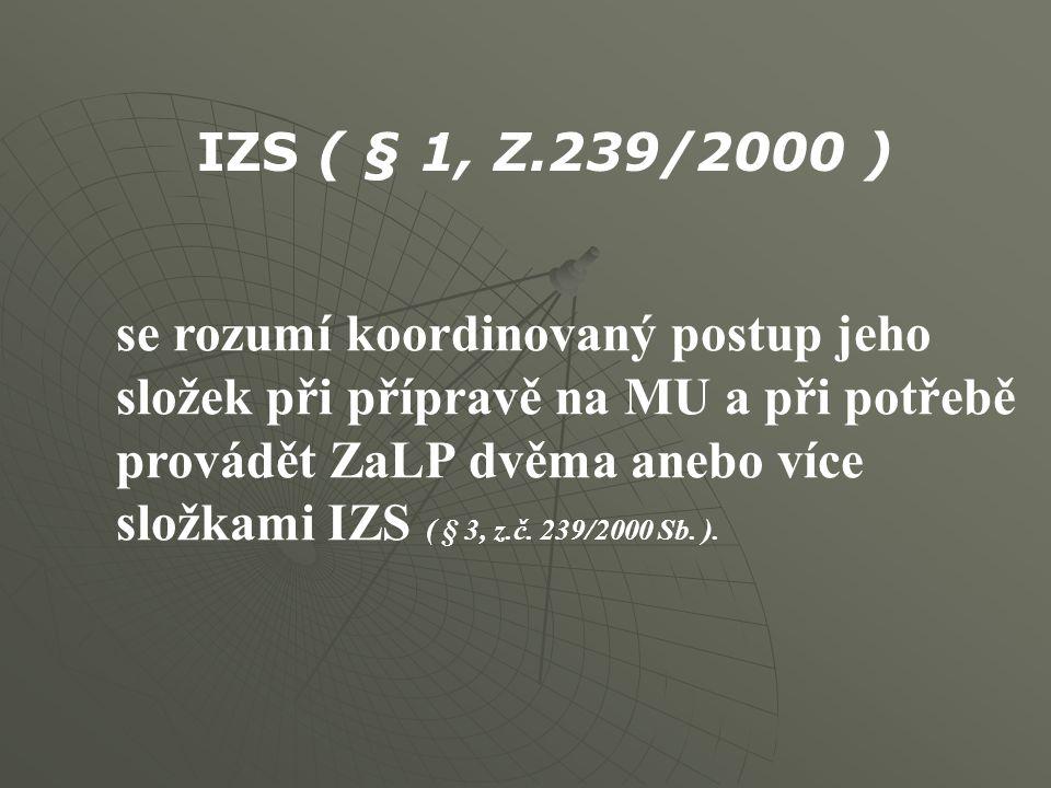 se rozumí koordinovaný postup jeho složek při přípravě na MU a při potřebě provádět ZaLP dvěma anebo více složkami IZS ( § 3, z.č. 239/2000 Sb. ). IZS