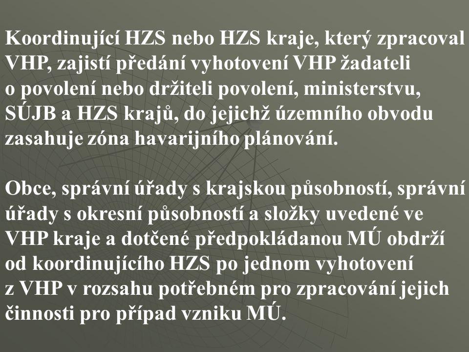 Koordinující HZS nebo HZS kraje, který zpracoval VHP, zajistí předání vyhotovení VHP žadateli o povolení nebo držiteli povolení, ministerstvu, SÚJB a