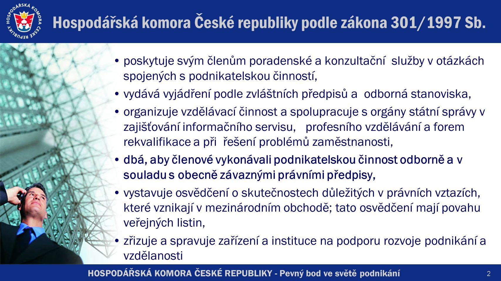 HOSPODÁŘSKÁ KOMORA ČESKÉ REPUBLIKY - Pevný bod ve světě podnikání Hospodářská komora České republiky podle zákona 301/1997 Sb.