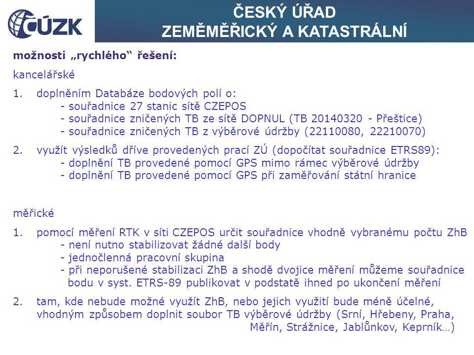 """ČESKÝ ÚŘAD ZEMĚMĚŘICKÝ A KATASTRÁLNÍ možnosti """"rychlého řešení: kancelářské 1.doplněním Databáze bodových polí o: - souřadnice 27 stanic sítě CZEPOS - souřadnice zničených TB ze sítě DOPNUL (TB 20140320 - Přeštice) - souřadnice zničených TB z výběrové údržby (22110080, 22210070) 2.využít výsledků dříve provedených prací ZÚ (dopočítat souřadnice ETRS89): - doplnění TB provedené pomocí GPS mimo rámec výběrové údržby - doplnění TB provedené pomocí GPS při zaměřování státní hranice měřické 1.pomocí měření RTK v síti CZEPOS určit souřadnice vhodně vybranému počtu ZhB - není nutno stabilizovat žádné další body - jednočlenná pracovní skupina - při neporušené stabilizaci ZhB a shodě dvojice měření můžeme souřadnice bodu v syst."""