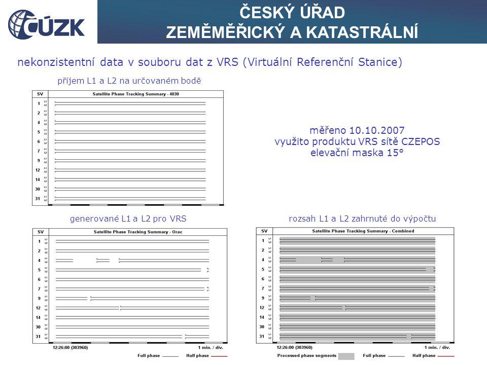 ČESKÝ ÚŘAD ZEMĚMĚŘICKÝ A KATASTRÁLNÍ nekonzistentní data v souboru dat z VRS (Virtuální Referenční Stanice) měřeno 10.10.2007 využito produktu VRS sítě CZEPOS elevační maska 15° příjem L1 a L2 na určovaném bodě generované L1 a L2 pro VRSrozsah L1 a L2 zahrnuté do výpočtu