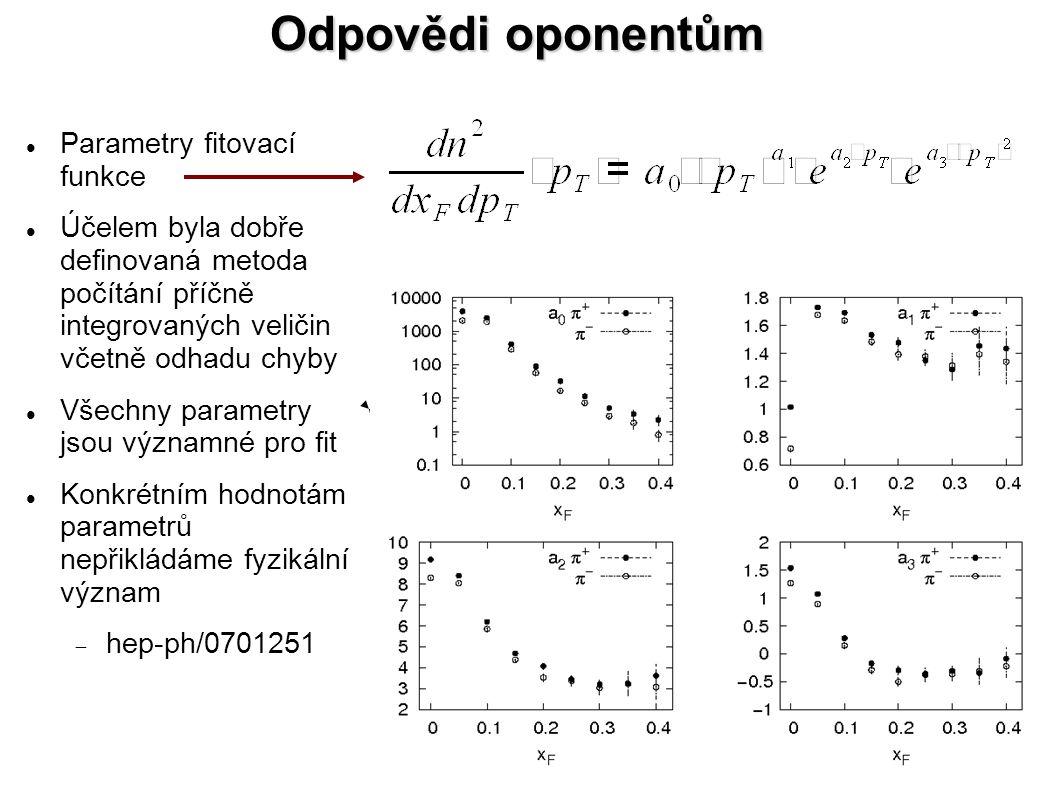 Odpovědi oponentům Parametry fitovací funkce Účelem byla dobře definovaná metoda počítání příčně integrovaných veličin včetně odhadu chyby Všechny parametry jsou významné pro fit Konkrétním hodnotám parametrů nepřikládáme fyzikální význam  hep-ph/0701251