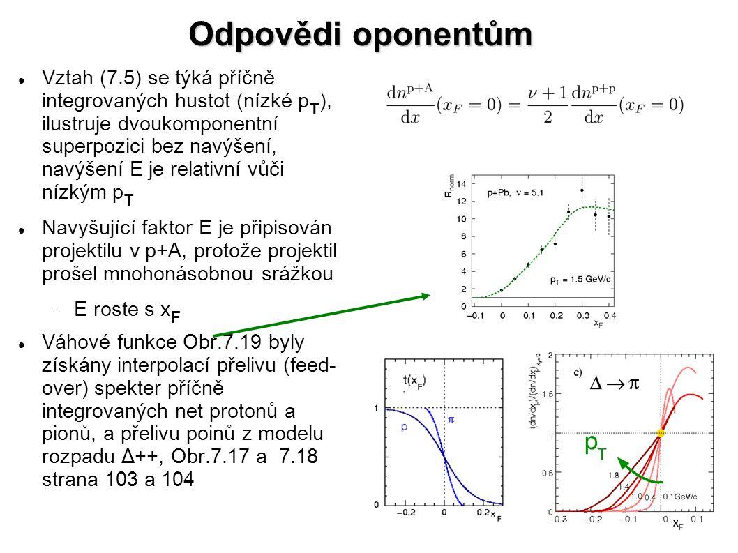 Odpovědi oponentům Vztah (7.5) se týká příčně integrovaných hustot (nízké p T ), ilustruje dvoukomponentní superpozici bez navýšení, navýšení E je relativní vůči nízkým p T Navyšující faktor E je připisován projektilu v p+A, protože projektil prošel mnohonásobnou srážkou  E roste s x F Váhové funkce Obr.7.19 byly získány interpolací přelivu (feed- over) spekter příčně integrovaných net protonů a pionů, a přelivu poinů z modelu rozpadu Δ++, Obr.7.17 a 7.18 strana 103 a 104