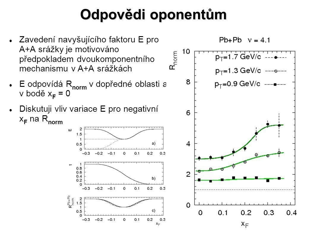 Odpovědi oponentům Zavedení navyšujícího faktoru E pro A+A srážky je motivováno předpokladem dvoukomponentního mechanismu v A+A srážkách E odpovídá R norm v dopředné oblasti a v bodě x F = 0 Diskutuji vliv variace E pro negativní x F na R norm