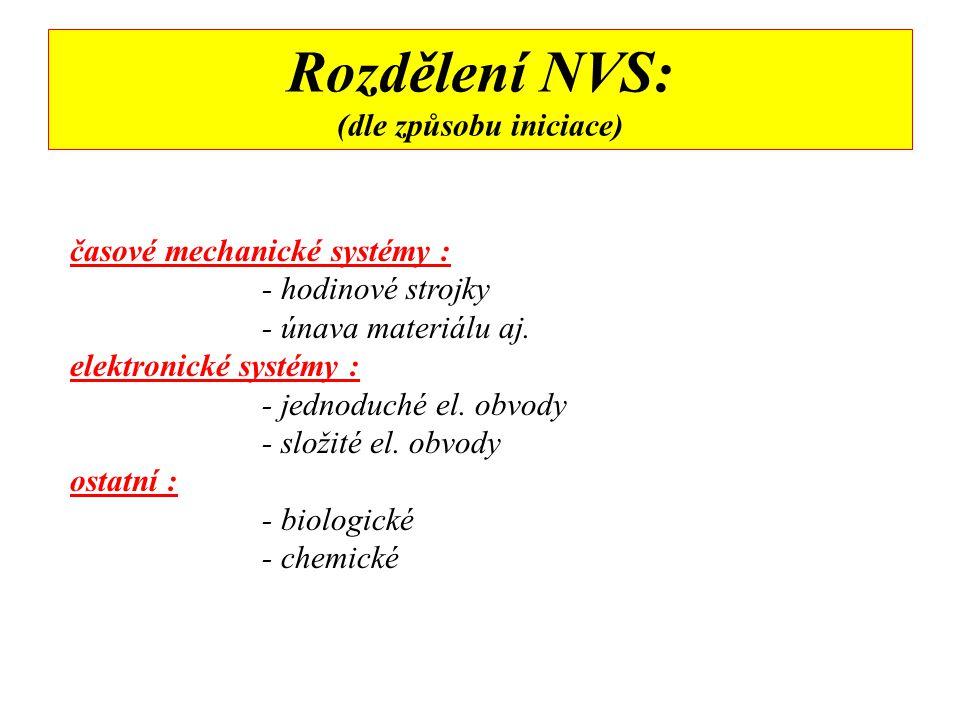 K O N S T R U K C E N V S O B A L - soudržnost komponentů NVS - ukrytí a kamufláž ( kufr, taška, konzerva, hračka …) - zvýšení střepinového účinku (ocel, sklo …) V Ý K O N N Á Č Á S T - trhavina, třaskavina střelivina, hořlavina ( zápalný účinek), pyrotechnická slož, výbušné plyny - přísada ke zvýšení ranivosti (šrouby, matice, sekané olovo …) I N I C I A Č N Í S Y S T É M (řetězec) - spínač ( časový, citlivý na vnější podněty, dálkově ovládaný) - zdroj energie ( elektrická, mechanická, chemická …) - iniciátor ( detonační vlna 1-2 km/s- rozbuška, palník …)
