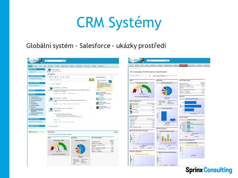 CRM Systémy Globální systém – Salesforce – ukázky prostředí