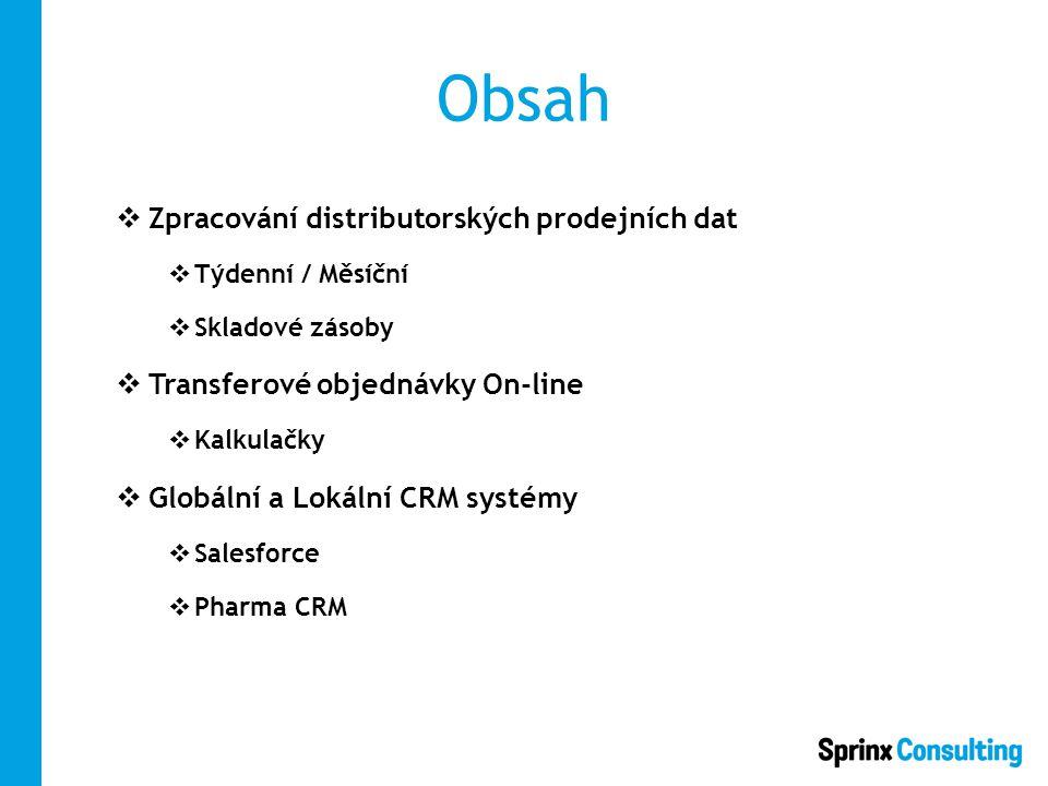 Obsah  Zpracování distributorských prodejních dat  Týdenní / Měsíční  Skladové zásoby  Transferové objednávky On-line  Kalkulačky  Globální a Lokální CRM systémy  Salesforce  Pharma CRM