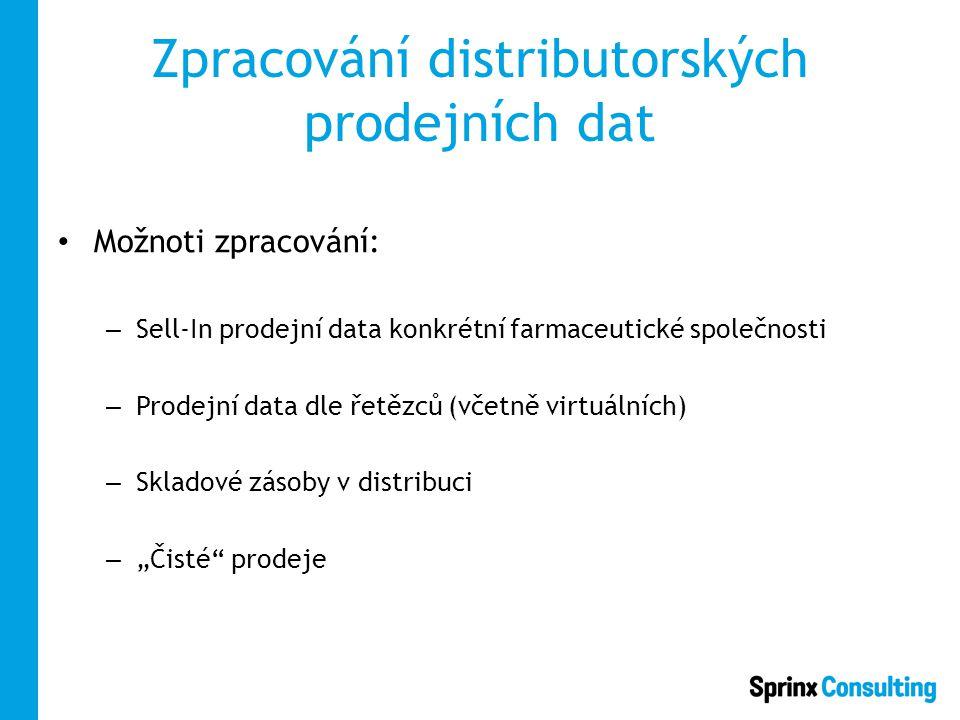 """Zpracování distributorských prodejních dat Možnoti zpracování: – Sell-In prodejní data konkrétní farmaceutické společnosti – Prodejní data dle řetězců (včetně virtuálních) – Skladové zásoby v distribuci – """"Čisté prodeje"""