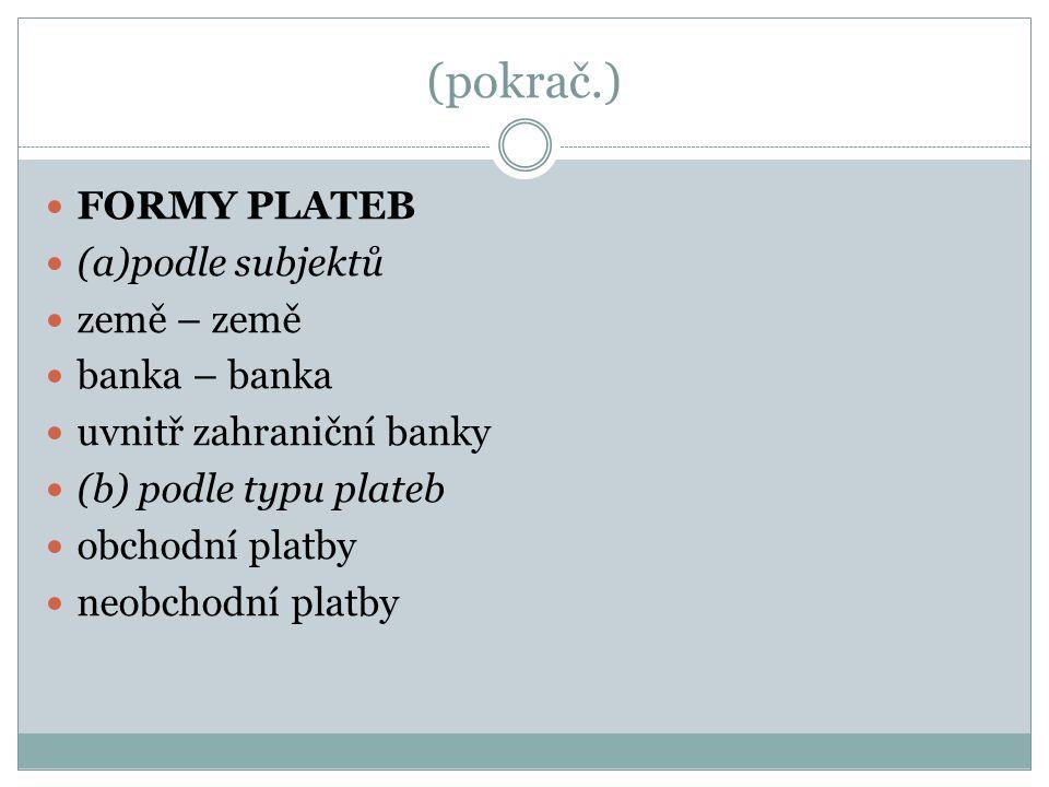 (pokrač.) FORMY PLATEB (a)podle subjektů země – země banka – banka uvnitř zahraniční banky (b) podle typu plateb obchodní platby neobchodní platby
