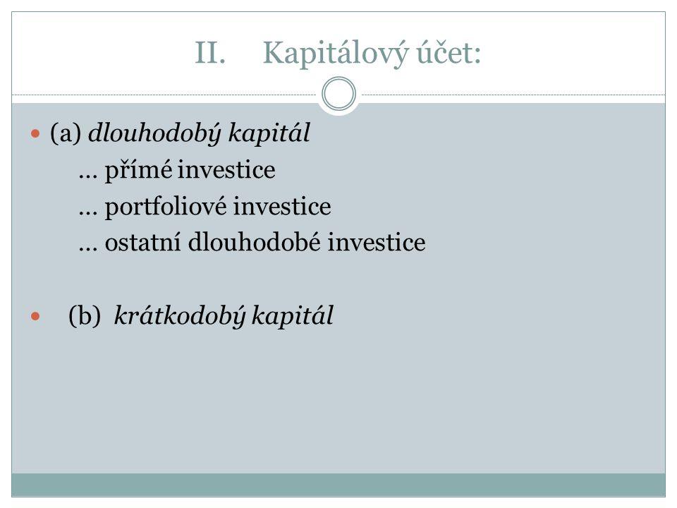 II.Kapitálový účet: (a) dlouhodobý kapitál … přímé investice … portfoliové investice … ostatní dlouhodobé investice (b) krátkodobý kapitál