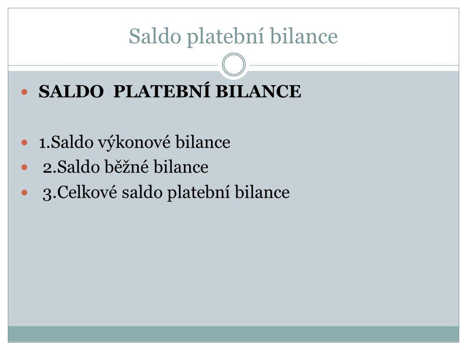 Saldo platební bilance SALDO PLATEBNÍ BILANCE 1.Saldo výkonové bilance 2.Saldo běžné bilance 3.Celkové saldo platební bilance